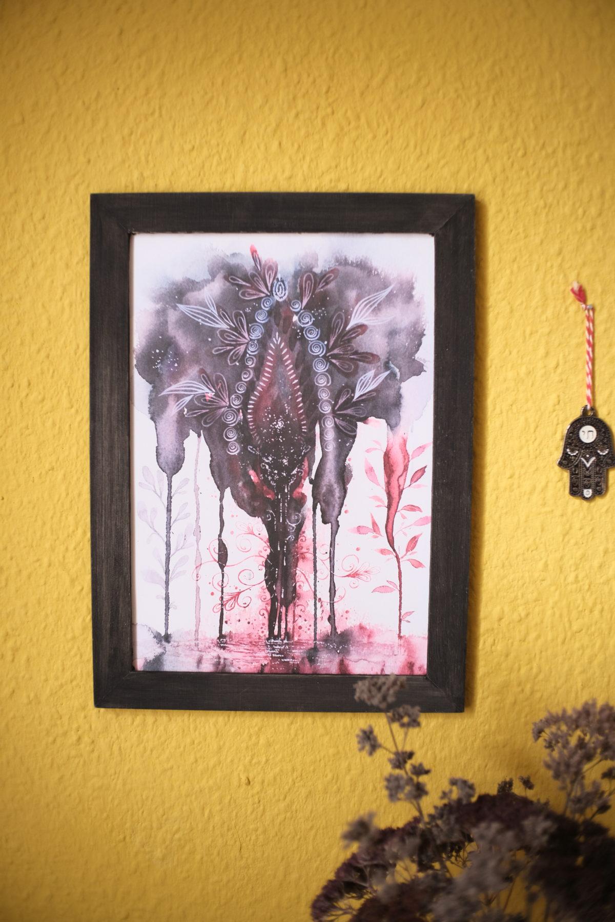 yoni im fluss zyklus menstruation periode yonivers maria und der pinsel feminine öko artprints aquarell nachhaltige kunst