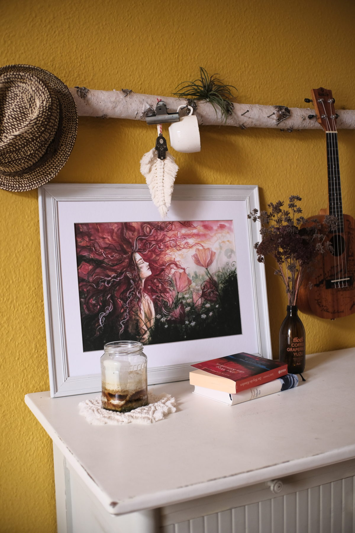 in roten wellen maria und der pinsel feminine öko artprints aquarell nachhaltige kunst