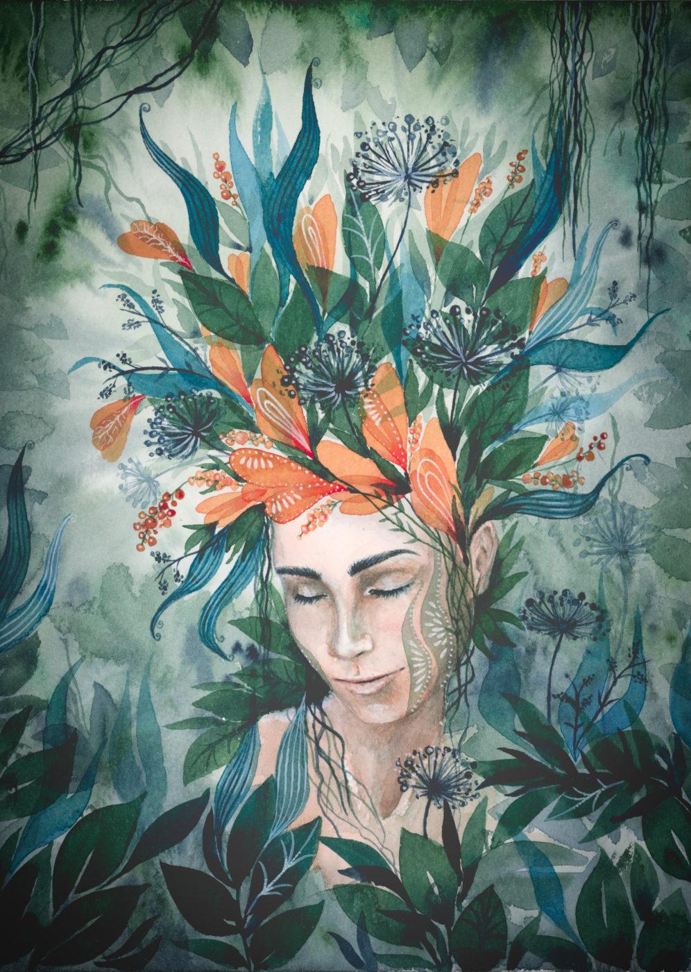 Grüne Träumerei maria und der pinsel feminine öko artprints aquarell nachhaltige kunst