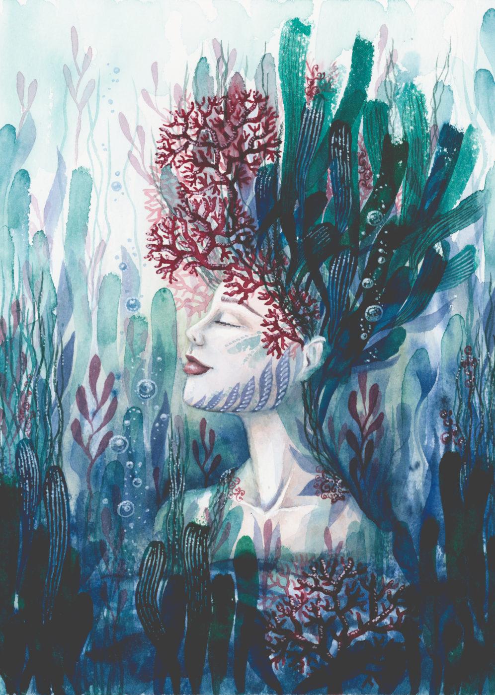 Korallenblüte maria und der pinsel feminine öko artprints aquarell nachhaltige kunst